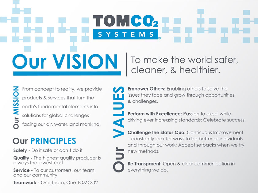 A graphic about TOMCO Systems Vision and mission statements